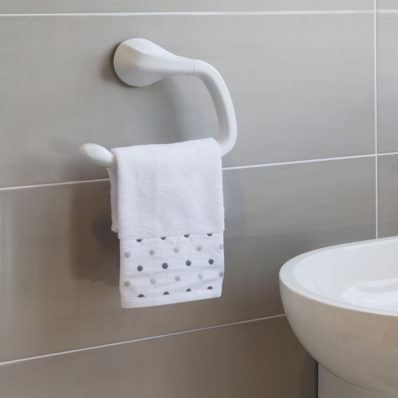 WHITE TOWEL HOLDER (WITH SCREWS)
