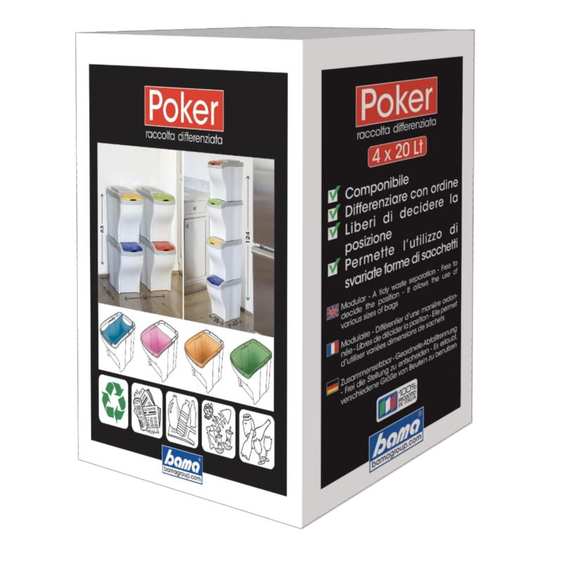 PATTUMIERA RACCOLTA DIFFERENZIATA POKER SET 4 pz.