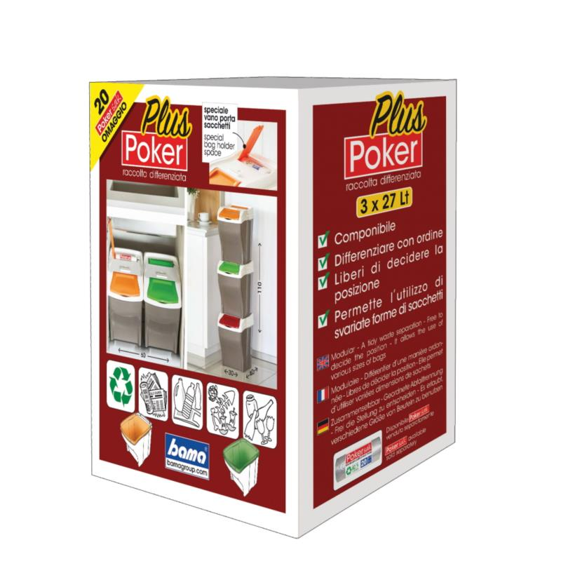PATTUMIERA RACCOLTA DIFFERENZIATA POKER PLUS SET 4x27Lt.