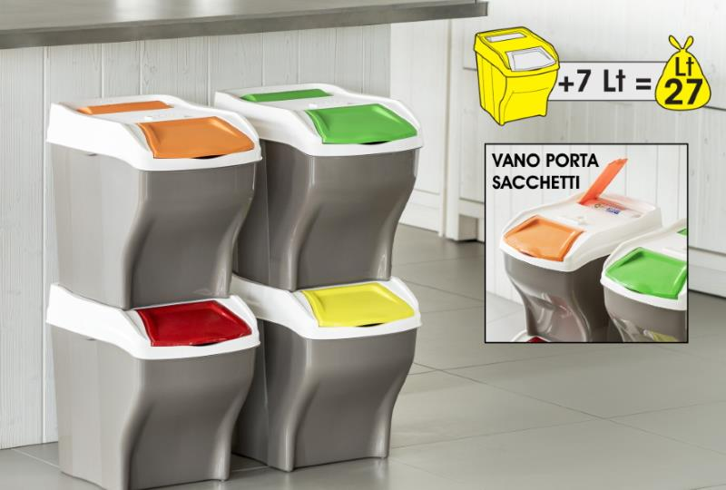 DUSTBIN FOR WASTE SEPARATION POKER PLUS (SET 3 E 4PZ.)